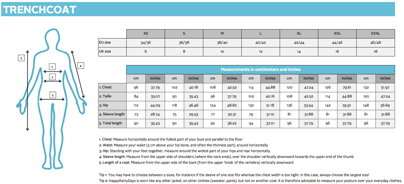 Trenchcoat size chart